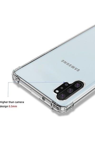 Herdem Samsung Galaxy Note 10 Kılıf Kenarları Zırh Ultra Koruma Antishock Şeffaf Sert Silikon