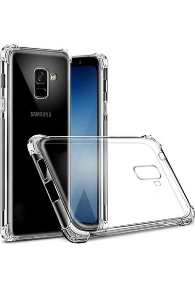 Herdem Samsung Galaxy A8 2018 Kılıf Kenarları Zırh Ultra Koruma Antishock Şeffaf Sert Silikon