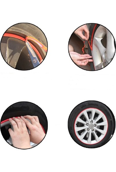 Wepools Araba Jant ve Trim Şerit Dekorasyon Bandı Kırmızı
