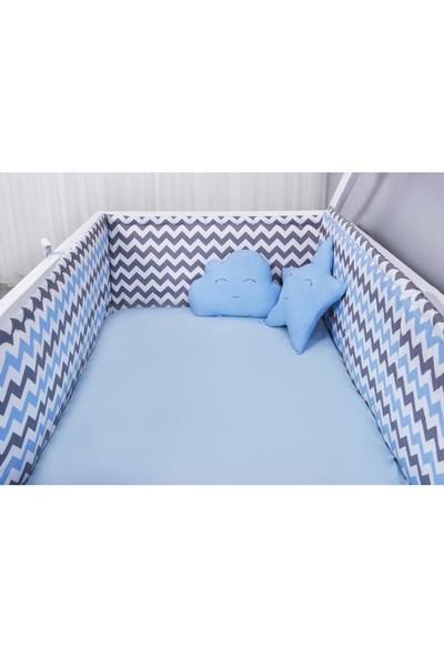 Odeon Bebek Yatak Beşik Yan Koruma Mavi Beyaz Gri Zigzaglı 80 x 130 cm