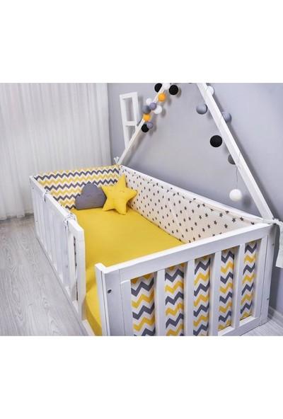 Odeon Bebek Yatak Beşik Yan Koruma Sarı Gri Yıldızlı Zigzaglı 80 x 130 cm