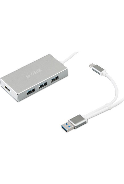 S-Link Swapp SW-U320 4 Port Aluminium USB 3.0 Type-C Gri