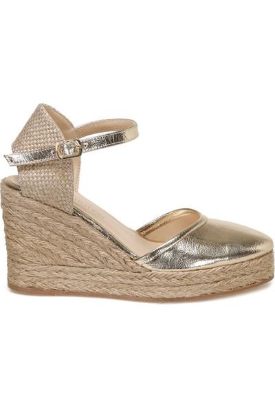 Butigo Somer Altın Kadın Dolgu Topuklu Sandalet