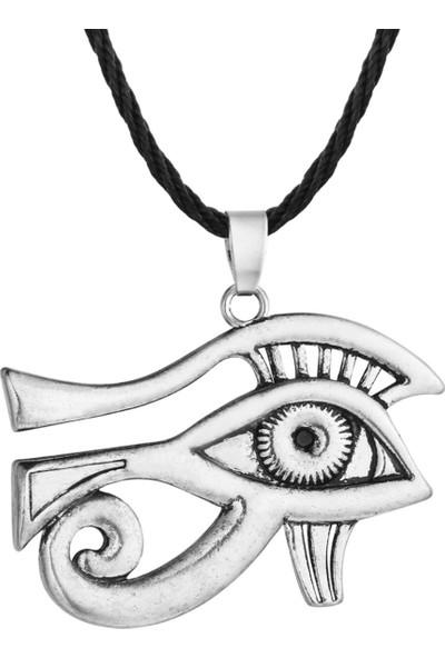 VipBT Ra Horus Çift Taraflı Göz Siyah Halat Zincir Antik Kaplama Kolye