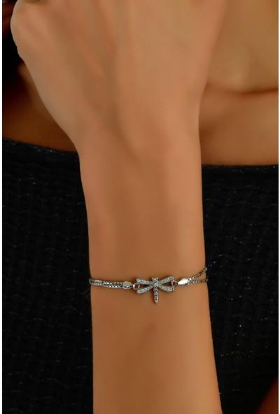 In Dubai Silver İn Dubai Silver Zirkon Taşlı Yusufçuk 925 Ayar Telkâr Gümüş Bileklik DBSK4024