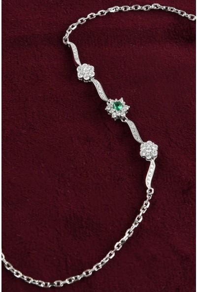 In Dubai Silver İn Dubai Silver Altı Tırnaklı Yeşil Taşlı 925 Ayar Telkâr Gümüş Bileklik DBSK4054