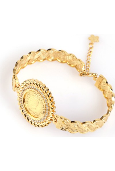 Sahi Aksesuar 22 Ayar Altın Kaplama Bilezik Modeli Çerçeveli Çeyrek Bileklik