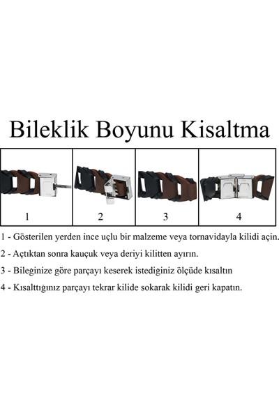 Sahi Aksesuar Erkek 315L Çelik Kemal Atatürk Imzalı Örgü Bileklik