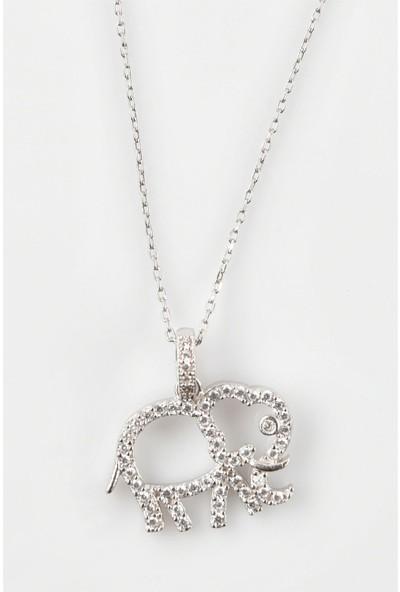 In Dubai Silver İn Dubai Silver Fil Figürlü Zirkon Taşlı 925 Ayar Gümüş Kolye DBSK2054
