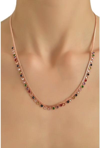In Dubai Silver İn Dubai Silver Renkli Rose Zirkon Taş Süslemeli Gök Kuşağı Kolye 925 Ayar Gümüş Kolye DBSK2234