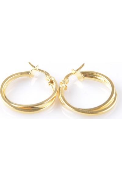In Dubai Silver İn Dubai Silver Şarnel Çift Halkalı Gold Gümüş Küpe DBSK3043