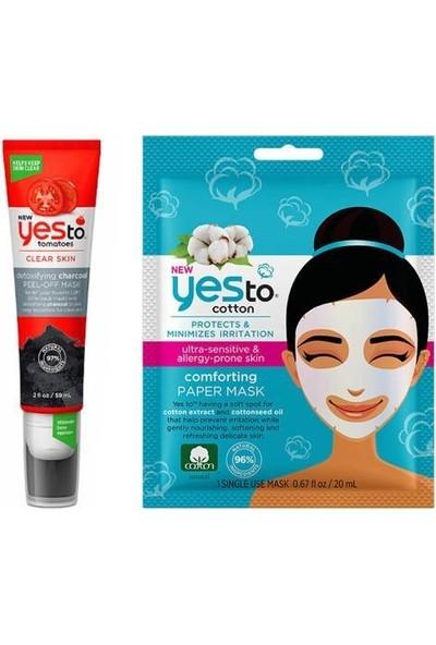 Yes To Tek Kullanımlık Pamuk Kağıt Maske 20 Ml+Kömür Arındırıcı Soyulabilir Maske 59 ml
