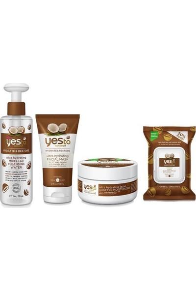 Yes To Coconut Set (Temizleme Suyu 230 Ml+Nemlendirici 50 Ml+ Yüz Maske 59 Ml+Temizleme Mendili 30'lu)