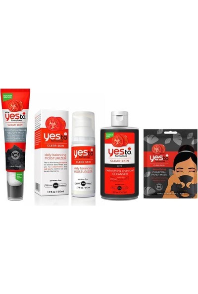 Yes To Tomatoes Set(Soyulabilir Maske 59 Ml+Günlük Bakım Kremi 50 Ml+Temizleme Jeli 147 Ml+Kağıt Maske 20 Ml)
