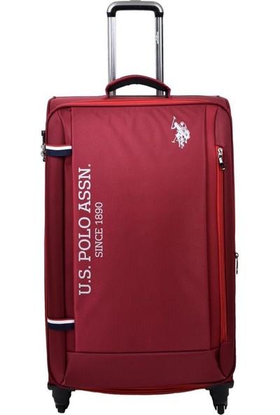 U.s. Polo Assn. Valiz Büyük Boy Bordo Kumaş Valiz
