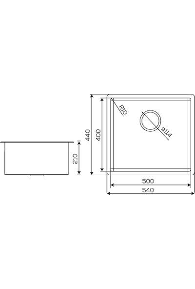 Crauf Ankastre Paslanmaz Çelik Mat Inox Evye 540 x 440 x 210 mm