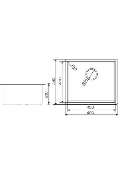 Crauf Bakır Tezgahaltı Evye 440 x 490 x 210 mm