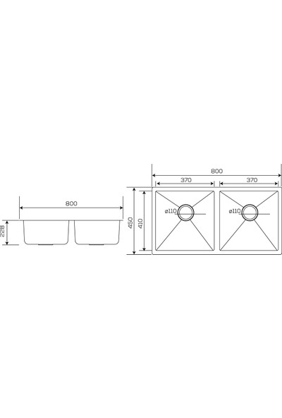 Crauf Inox Tezgahaltı Evye 450 x 800 x 228 mm