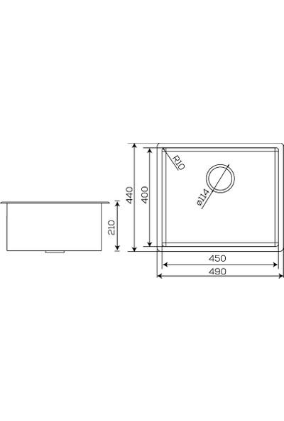 Crauf Mat Inox Tezgahaltı Evye 440 x 490 x 210 mm