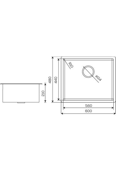 Crauf Mat Inox Tezgahaltı Evye 480 x 600 x 210 mm