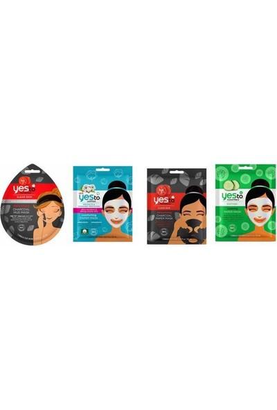 Yes To Tek Kullanımlık Kömür Arındırıcı Çamur Maske 20 Ml+ Salatalık Kağıt Maske 20 Ml+Pamuk Kağıt Maske 20 Ml+Kömür Kağıt Maske 20 ml