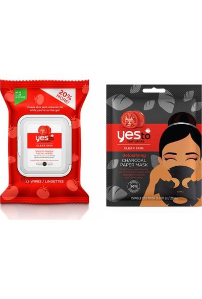 Yes To Akneli Cilt Temizleme Yüz Mendili 30 Adet+Kömür Kağıt Maske 20 ml
