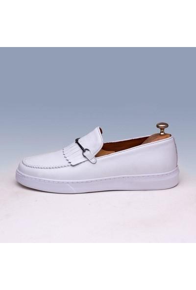 Tetri Beyaz Deri Ayakkabı