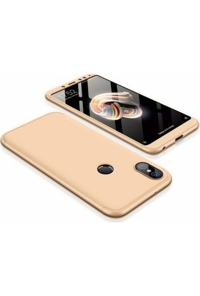 Herdem Xiaomi Mi A2 Lite Kılıf 360 Derece Tam Koruma Sert Rubber Gold