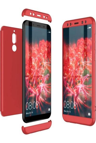 Herdem Huawei Mate 10 Lite Kılıf 360 Derece Tam Koruma Sert Rubber Kırmızı