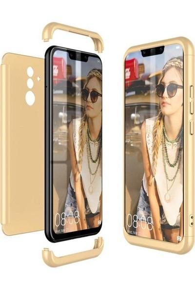 Herdem Huawei Mate 20 Lite Kılıf 360 Derece Tam Koruma Sert Rubber Gold