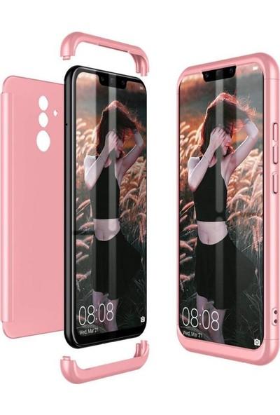 Herdem Huawei Mate 20 Lite Kılıf 360 Derece Tam Koruma Sert Rubber Rose Gold