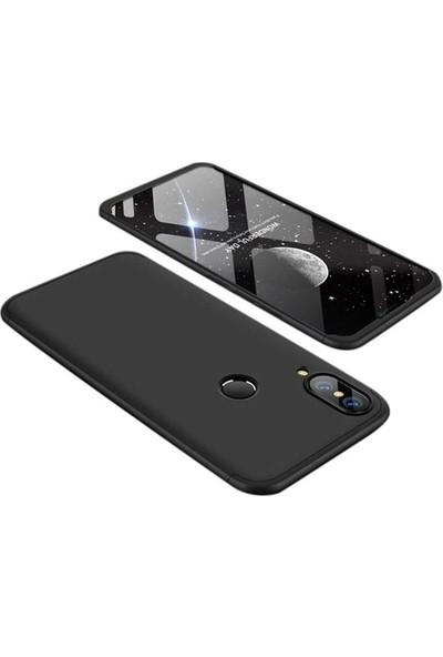 Herdem Huawei P20 Lite Kılıf 360 Derece Tam Koruma Sert Rubber Siyah