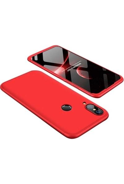 Herdem Huawei P20 Lite Kılıf 360 Derece Tam Koruma Sert Rubber Kırmızı