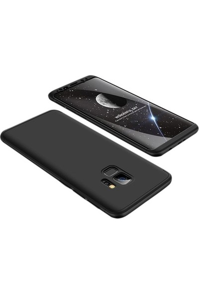 Herdem Samsung Galaxy S9 Kılıf 360 Derece Tam Koruma Sert Rubber Siyah