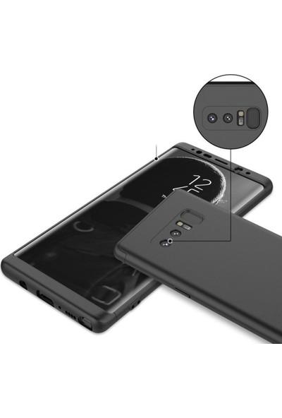 Herdem Samsung Galaxy Note 8 Kılıf 360 Derece Tam Koruma Sert Rubber Siyah - Kırmızı