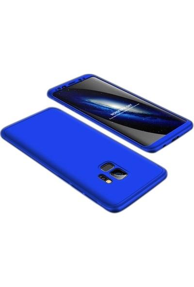 Herdem Samsung Galaxy A8 2018 Kılıf 360 Derece Tam Koruma Sert Rubber Mavi
