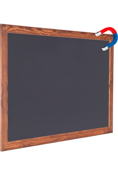 Chalky Manyetik Kara Tahta Ahşap Çerçeveli Tebeşir Yazı Tahtası 45 x 70 cm Siyah