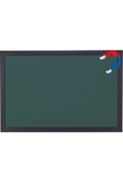 Chalky Manyetik Kara Tahta Siyah Çerçeveli Tebeşir Yazı Tahtası 100 x 130 cm Yeşil