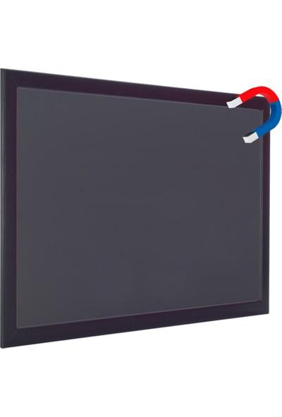 Chalky Manyetik Kara Tahta Siyah Çerçeveli Tebeşir Yazı Tahtası 45 x 110 cm Siyah