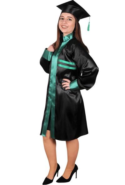 Mezuniyetshop Mezuniyet Cübbesi Lise Siyah Yeşil Ön Biyeli