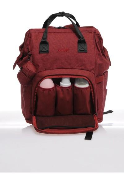 Smart Bags Smb2007-0021 Bordo Kadın Bebek Bakım Sırt Çantası