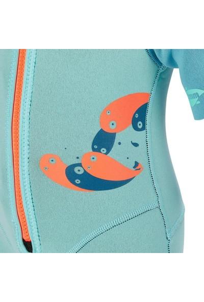 Çocuk Dalış Shorty Isı Yalıtımlı Çocuk 1.5mm Sörf Kıyafeti Turkuaz Meridyendukkan