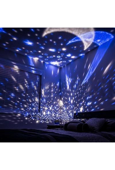 Patladı Gitti Renkli ve Dönen Star Master Projeksiyon Gece Lambası - Mavi Kapaklı