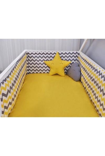 Odeon Çocuk Yatak Yan Kenar Koruma Montessori Sarı Zigzaglı 90 x 190 cm