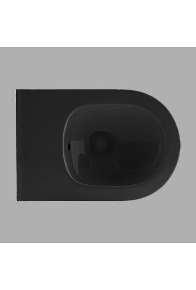Lucco Avva Rim Art Kanalsız Asma Klozet Siyah 53 cm