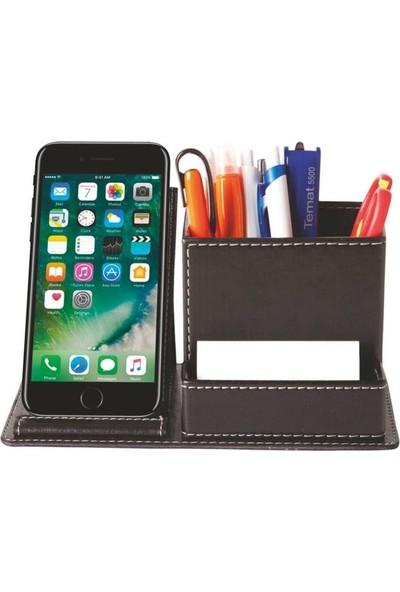 İklim Telefon Tutucu Deri Masa Seti Siyah