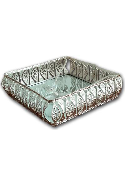 Diamond Home Gümüş Renk Dekoratif Aynalı Kristal Taşlı Peçetelik