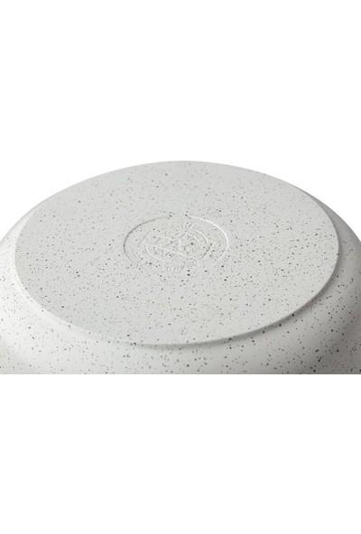 Taç 3423 Granit Döküm 26 cm Basık Tencere Beyaz