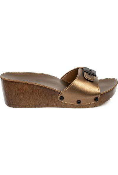 Ceyo 9969 Topuklu Bronz Kadın Terlik