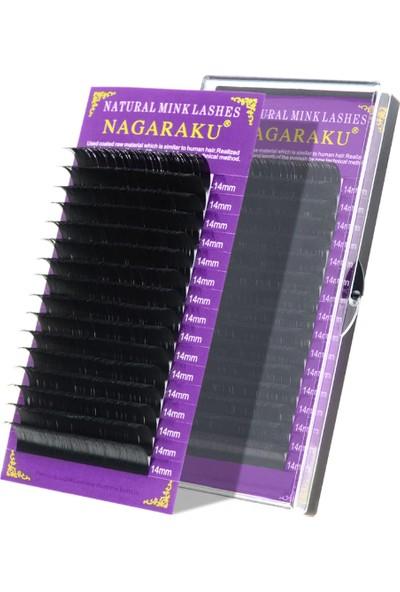 Nagaraku Ipek Kirpik Vizon Kirpik C Kıvrım 0,07MM 14 mm Uzunluk
